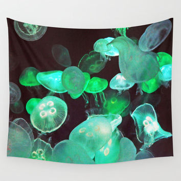 Green Moon Jellyfish - Wall Tapestry, Black Ocean Nautical Hanging Boho Style Beach Surf Decor Accent. 51x60 / 68x80 / 88x104 Inches