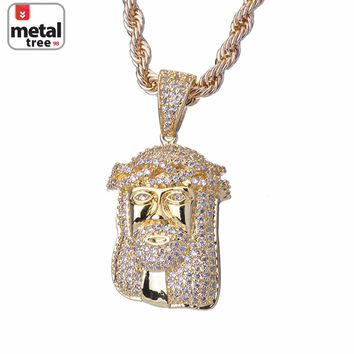 Jewelry Kay style Men's 14k Gold Plated Hip Hop Iced Out Mini Jesus Piece Pendant Chain Necklace