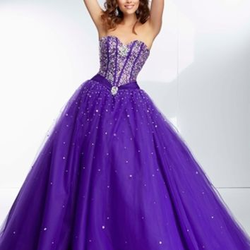 Sweetheart Beaded Paparazzi Prom Dress 95075