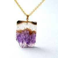 Amethyst Druzy Pendant Necklace, Raw Natural Crystal Gemstone Spring Jewelry -A007
