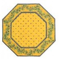 Round / Octagon 15 Dia Blue Calissons Olives Yellow Center and Yellow Border Cotton Placemats