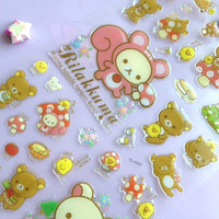 Little red riding hood bear sticker fairy tale story sticker Rilakkuma Japanese brown bear crystal sticker pink squirrel Mushroom Scrapbook