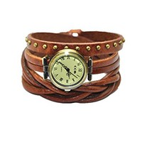 MINILUJIA Women's Watches Genuine Leather Wrist Wrap Watch Brown