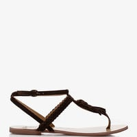 Laid Back Suede Tassel Thong Sandals