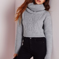 Missguided - Aliya Roll Neck Cable Knit Crop Sweater Grey