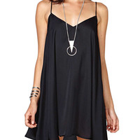 Black Strappy Sleeveless V-Neck Mini Dress