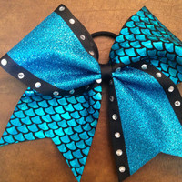 "3"" Cheer Bow - Turquoise Glitter Fish Scale  with Rhinestones"