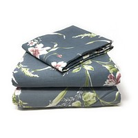 Tache 3-2 Pc Cotton Cherry Blossom Dusk Floral Grey Gray Rustic Girly Rose Duvet Cover Set (2162)