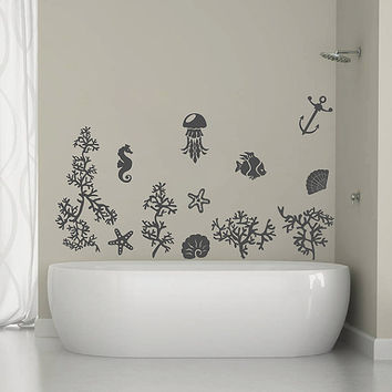 kik1323 Wall Decal Sticker fish coral sea star seahorse jellyfish bathroom living room bedroom