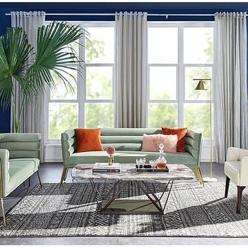 Divani Casa Bixby Modern Light Green Velvet & Gold Sofa