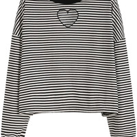 Black White Striped Drop Shoulder Heart Embroidered Sweatshirt
