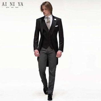 DCCKON3 (Jackets+Pants+Vest) 2018 Black Men Suits Slim Fit Groom Tuxedos Bridegroon Formal Prom Party Business Dress Wedding Suits Male