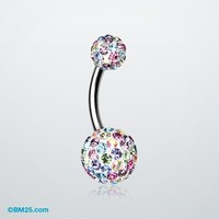 Brilliant Motley Tiffany Inspired Sparkle Ferido Belly Ring