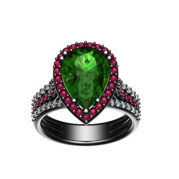 Diamond Engagement Ring With Pink Sapphire Halo 14K Black Gold with 10x8mm Pear Shape Green Emerald Center - V1089