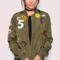 Chatterbox Patched Bomber Jacket - Olive