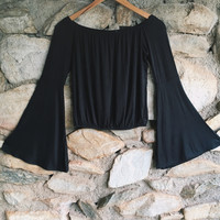 Black Off The Shoulder Bell Sleeve Crop Top