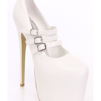 (anm) Maryjane triple buckle white Platform Heels