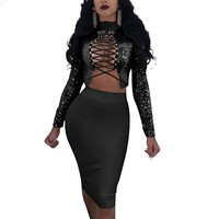 Sedrinuo 2018 Fashion Lace up Long Sleeve bodycon Sequin Dress Two Piece Set Slim Sexy Party Club Dresses Vestidos