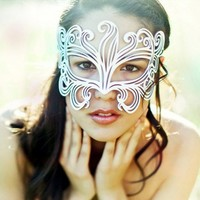 Muse leather mask in white bridal by TomBanwell on Etsy