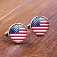 Cuff  links,USA Flag   cufflinks,Weeding gift,personnality gift,Photo cufflinks,Superhero cufflinks