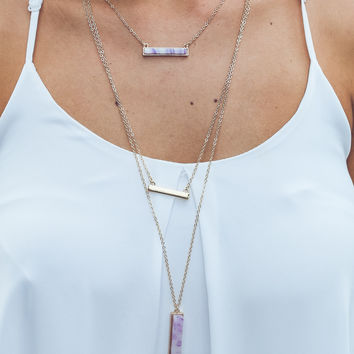 Setting the Bar Necklace in Purple and Gold