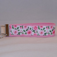 Keychain Wristlet Made With Pink Roses Inspired Ribbon