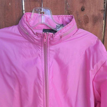 Womens Pink Windbreaker, Izod Track Jacket, The Izod Club 1980's vintage rain slicker, Zip Up Hooded Pink Jacket, Size 10 Large