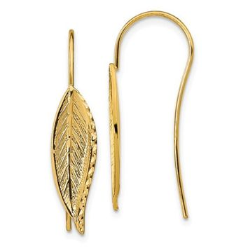 14K Gold Feather Threader Earrings