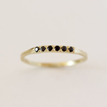 Pave Black Diamond Ring - Thin Diamond Band - 14K Solid Gold