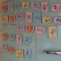 Sign Language Alphabet Magnets (Set of 26), Hand Burned, Hand Painted by ReverieLife