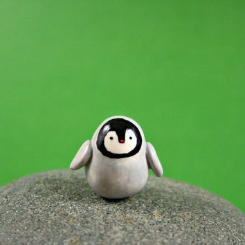 Little Baby Penguin  Hand Sculpted by MadeWithClayAndLove on Etsy