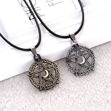 Pentagram Tree Of Life Moon Necklace NORSE VIKIBG Necklaces Protection Star Goddess Magic Supernatural Amulet Accessories