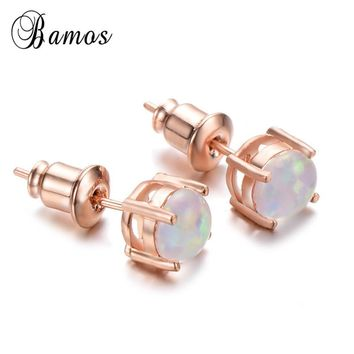 Bamos White/Green/Blue Fire Opal Stud Earrings For Women Simple Round Bridal Earrings Vintage Rose Gold Filled Jewelry 2018 New