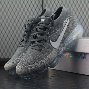 ONETOW Best Online Sale Nike Air VaporMax Vapor Max 2018 Flyknit Men Grey Silver Sport Running Shoes 849558-002