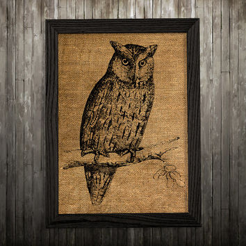 Owl decor Animal print Bird poster Burlap print BLP178