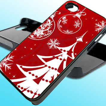 Red Christmas Tree for iPhone 4/4s Case - iPhone 5 Case - Samsung S3 - Samsung S4 - Black - White (Option Please)