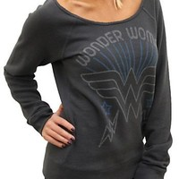 Junk Food Wonder Woman Flashdance Off The Shoulder Fleece Juniors Night Black Long Sleeve Sweatshirt - Wonder Woman - | TV Store Online