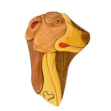 Handmade Wooden Art Intarsia TRICK SECRET Dog breed Whippet Puzzle Trinket Box (3506) (g2)