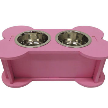 Pink elevated dog feeder with storage. Dog bowl. Raised pet feeder. Dog food storage. Wooden dog feeder. 1 qt dog bowls