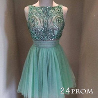 Green Sweetheart Chiffon Short Prom Dress,Homecoming Dress