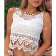 Women Sexy Semi Sheer Embroidery Floral Lace Crochet Tee T-Shirt Top Blouse Vest