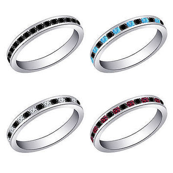 White Gold on 925 Silver Eternity Wedding Band Ring With Multi-Color Gemstone