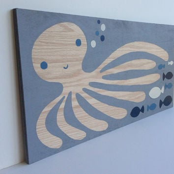 Hand Painted Gray Blue and White Nautical by SweetBananasArt
