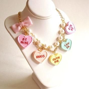 Conversation Heart Necklace Valentines Day Necklace Pastel Candy Hearts Charms Miniatu