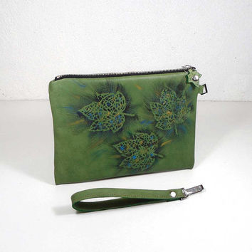 Green leather clutch, leather purse, painted bag, small designer bag, pouch leather, cosmetic bag, case for accessories, evening leather bag