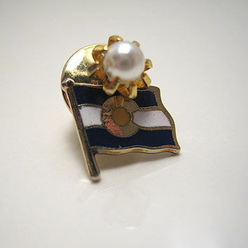 Vintage Faux Pearl Tie Tack Lapel Pin State of Colorado Flag Charm Mens Formal Jewelry Accessories