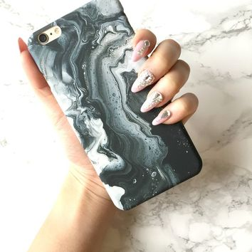 iPhone 8 7 6s 6 Plus Marble Ghost Marble, Black & White Marble iPhone Cover Best Friend Marble Gift Marble Phone Granite Hard Case