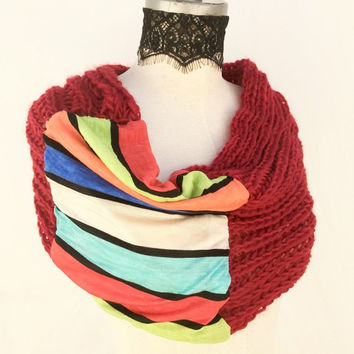 Hand knit  snood scarf, Hand knitted Christmas stockings gift items, knit cowl Loop scarf, Womens gift for mom women, best selling shops
