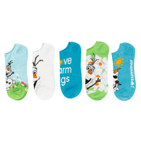 Disney Frozen Olaf Summer No-Show Socks 5 Pair