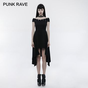 PUNK RAVE Punk Collars Strapless X Collar Asymmetric Hem Long Dress Black Sexy Knitted Cutting Rubber Band Waist Women Clothing